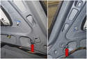 Working inside the trunk, at the trunk opening, below the corners of the taillights, remove the 10mm nuts (red arrows).