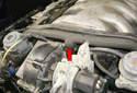 Locate the secondary air pump supply hose (red arrow).