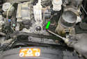 You can also use a flathead screwdriver to lever off the opposite side (green arrow) of the thermostat housing.
