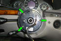 This picture illustrates the front of the steering column with the steering wheel already removed.