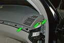Remove the three T30 Torx fasteners (green arrows).