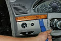 This picture illustrates the left side of the dashboard just above the ignition switch.