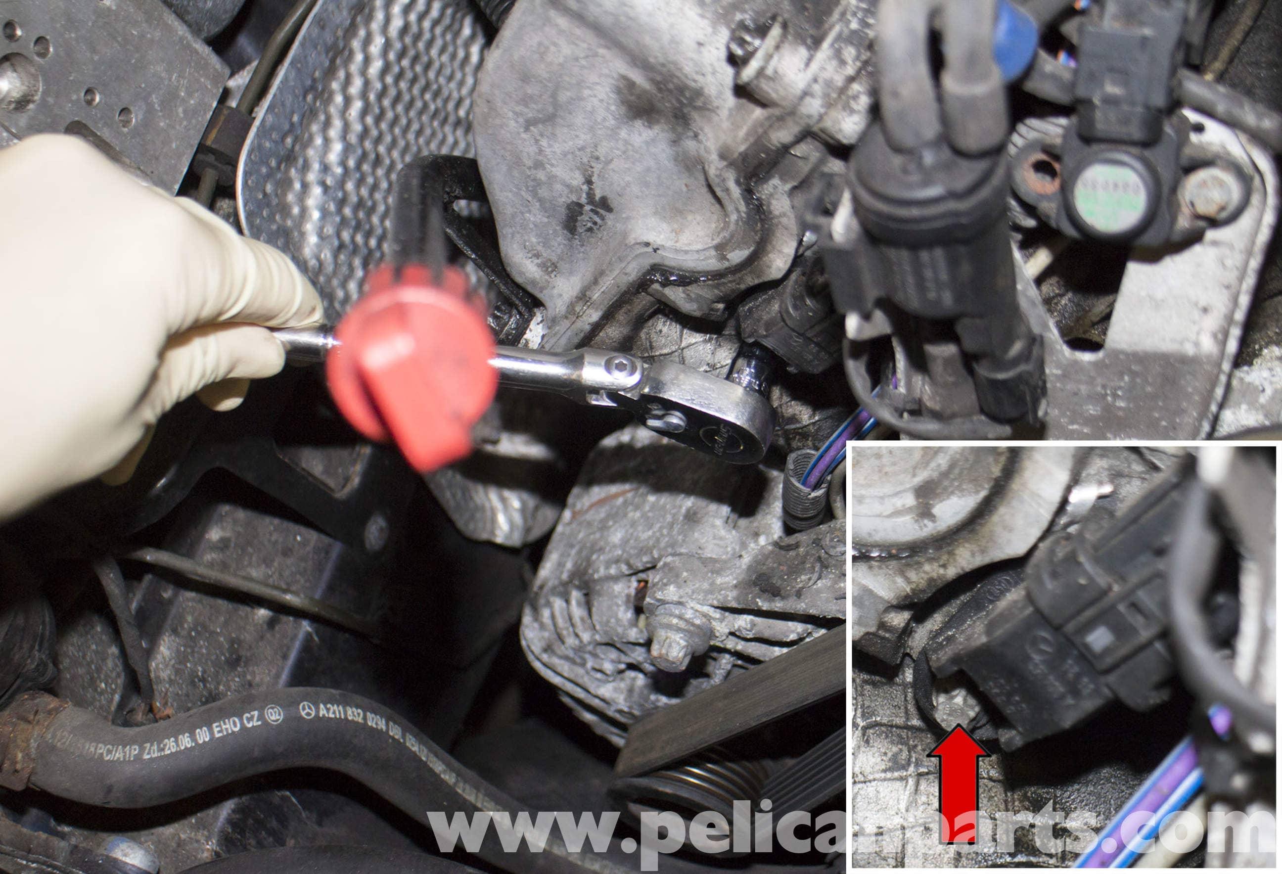 Camshaft Position Sensor >> Mercedes-Benz W211 Camshaft Position Sensor Replacement (2003-2009) E320   Pelican Parts DIY ...