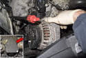 To remove the alternator, lift it toward the front of the engine with the pulley facing left.