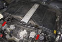 Then, pull the engine cover/air filter housing straight up to remove.