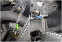 Working at the left side radiator hose, use a flathead screwdriver to lever out the coolant hose retaining clip (green arrow).