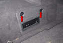 Electrical testing: Working in the left side of the trunk, rotate the knobs (red arrow) 90° counterclockwise.