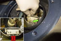 The level sender has to be detached from the fuel pump module to fit it out of the fuel tank.