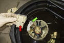 Remove the fuel lever sender (red arrow) from the old fuel pump module.