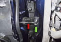 The door check (red arrow), plastic trim cover (green arrow) and fasteners are all available as replacement parts, as well as the fasteners.