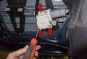 Window motor: To replace just the motor, remove the three T30 Torx fasteners (red arrows).