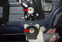 Window motor: When installing the new motor, you will have to rotate it back and forth to get the splines on the motor and the regulator to align (red arrows).