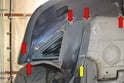 Use a T30 Torx and remove all of the lower fasteners (red arrows).