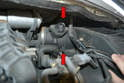 There are two clips that hold the MAF housing to the air box housing (red arrows).
