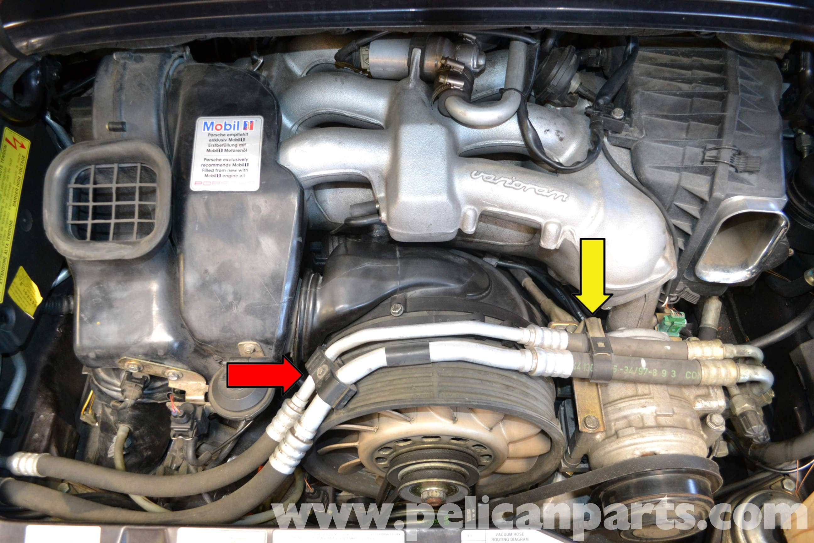 Pelican Technical Article Porsche 993 A C Belt Replacement 365 Engine Diagram Large Image Extra