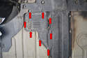 The fuel pump panel is held in place by a series of 10mm nuts and bolts (red arrows).