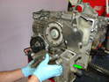 Moving on, we now removed the front oil pump housing from the engine.