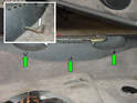 Pry out the small plastic plugs shown here (green arrows) to access the screws that hold the hood and engine deck lid panel down to the sill.