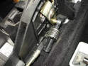 Note that on cars with automatic transmissions, there is only one shift cable attachment as shown here.
