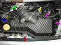Open the engine decklid and remove the airbox.