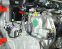 This photo shows the group of sensors located on the left front of the engine.
