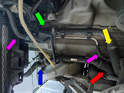 Top Radiator Hoses: left and right (green).