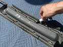 Once your air inlet panel is removed, using a marker, trace the outline of the opening for the center radiator.