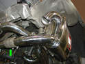 Now fit the exhaust tips to the ends of the mufflers and secure them with the supplied clamps.