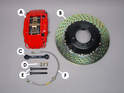 Shown here is one half of the Brembo big brake upgrade kit as purchased from PelicanParts.