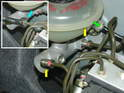 Shown here is a close-up of the master cylinder connections.