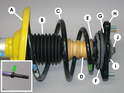 This diagram shows the installation of a new front shock and how all the bits and pieces fit together.