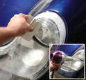 For the wet installation, apply firm pressure from the center of the headlamp working your way to the outer edges.