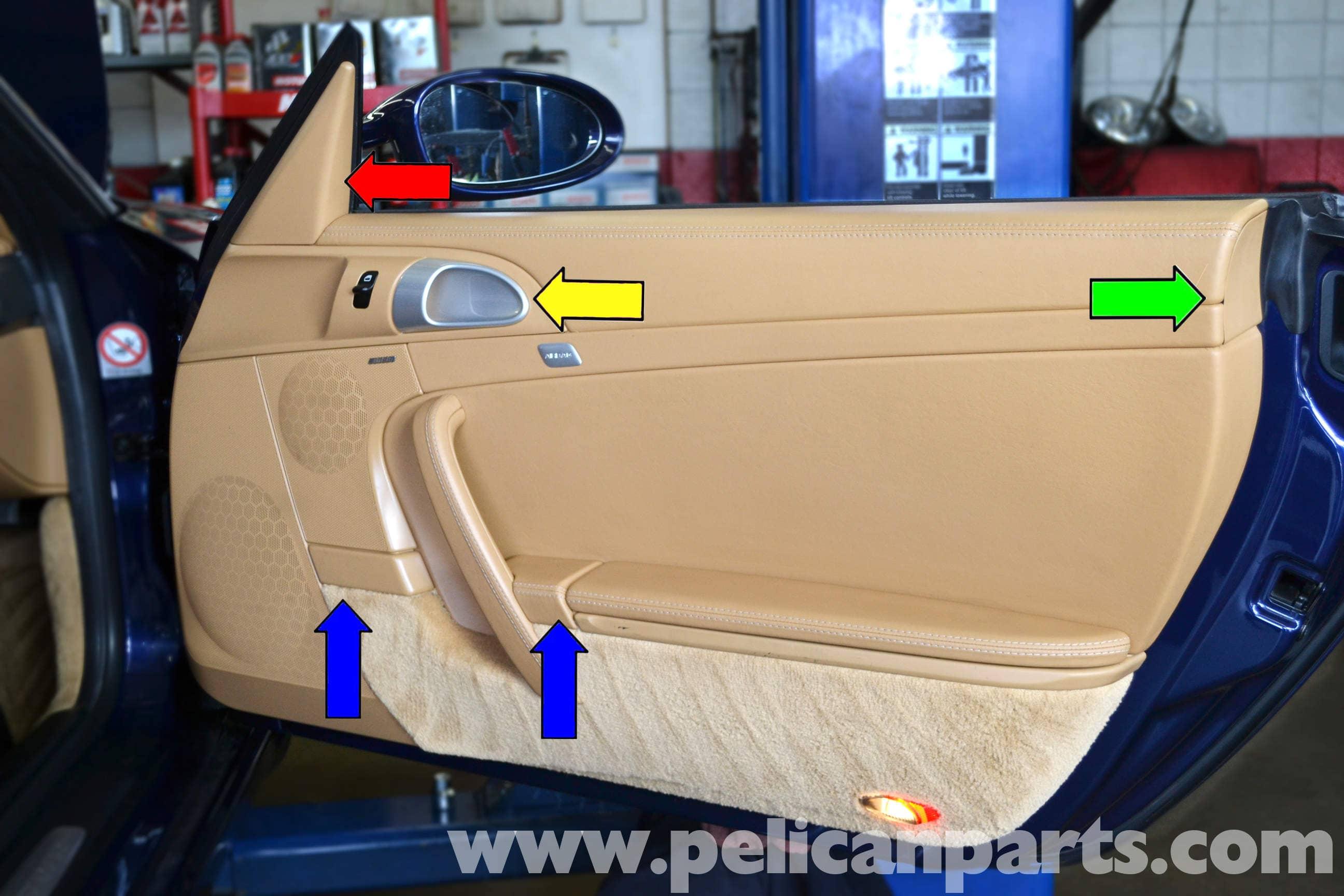 pic09 porsche 911 carrera door panel removal 996 (1998 2005) 997 (2005