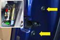 Insert shows the door mechanism in the door.
