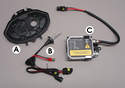 This photo shows the basic HID upgrade kit for the standard USA sealed-beam headlamps.