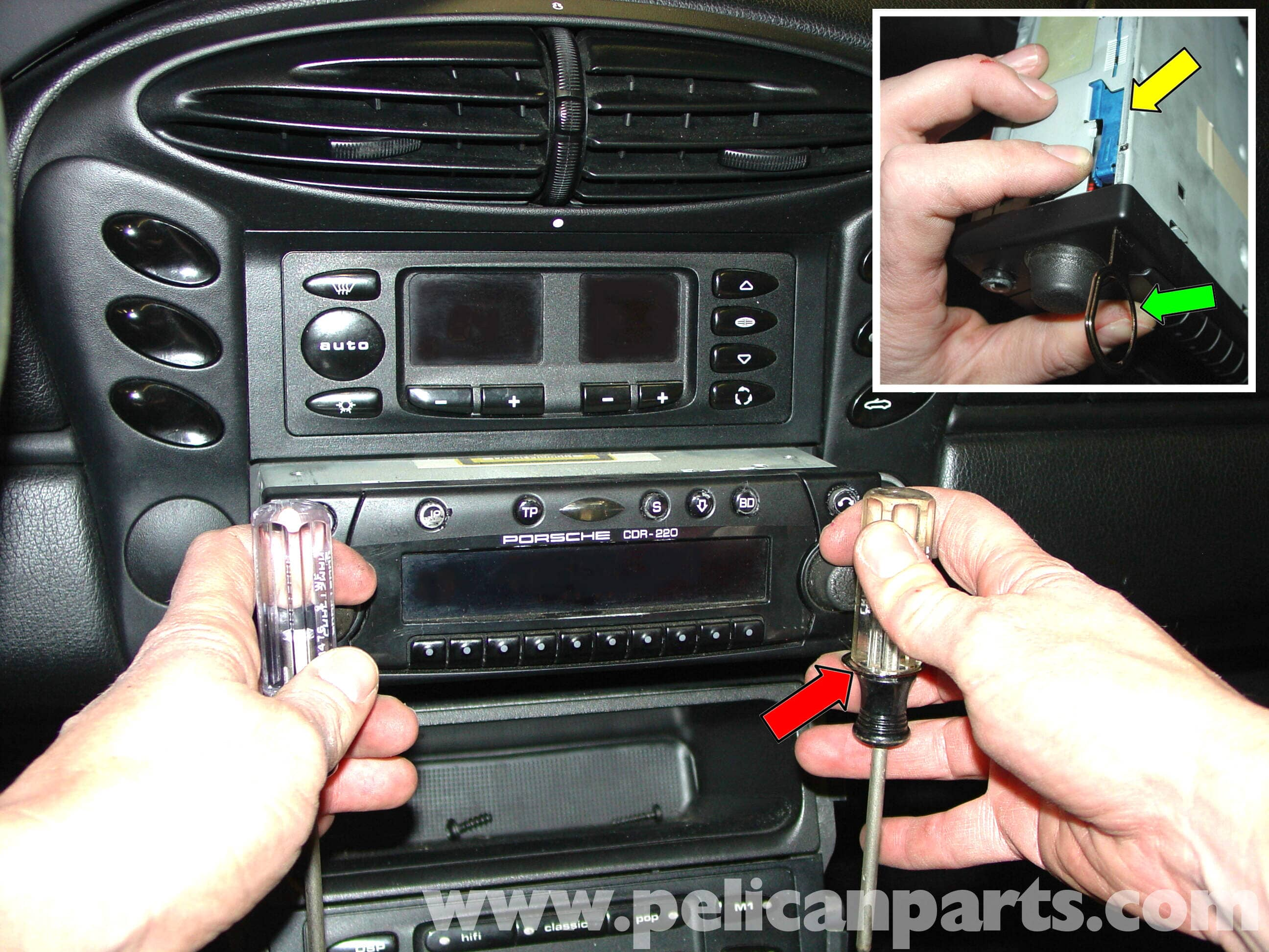 pic02 porsche 911 carrera radio head unit installation 996 (1998 2005 Ford Radio Wiring Diagram at reclaimingppi.co