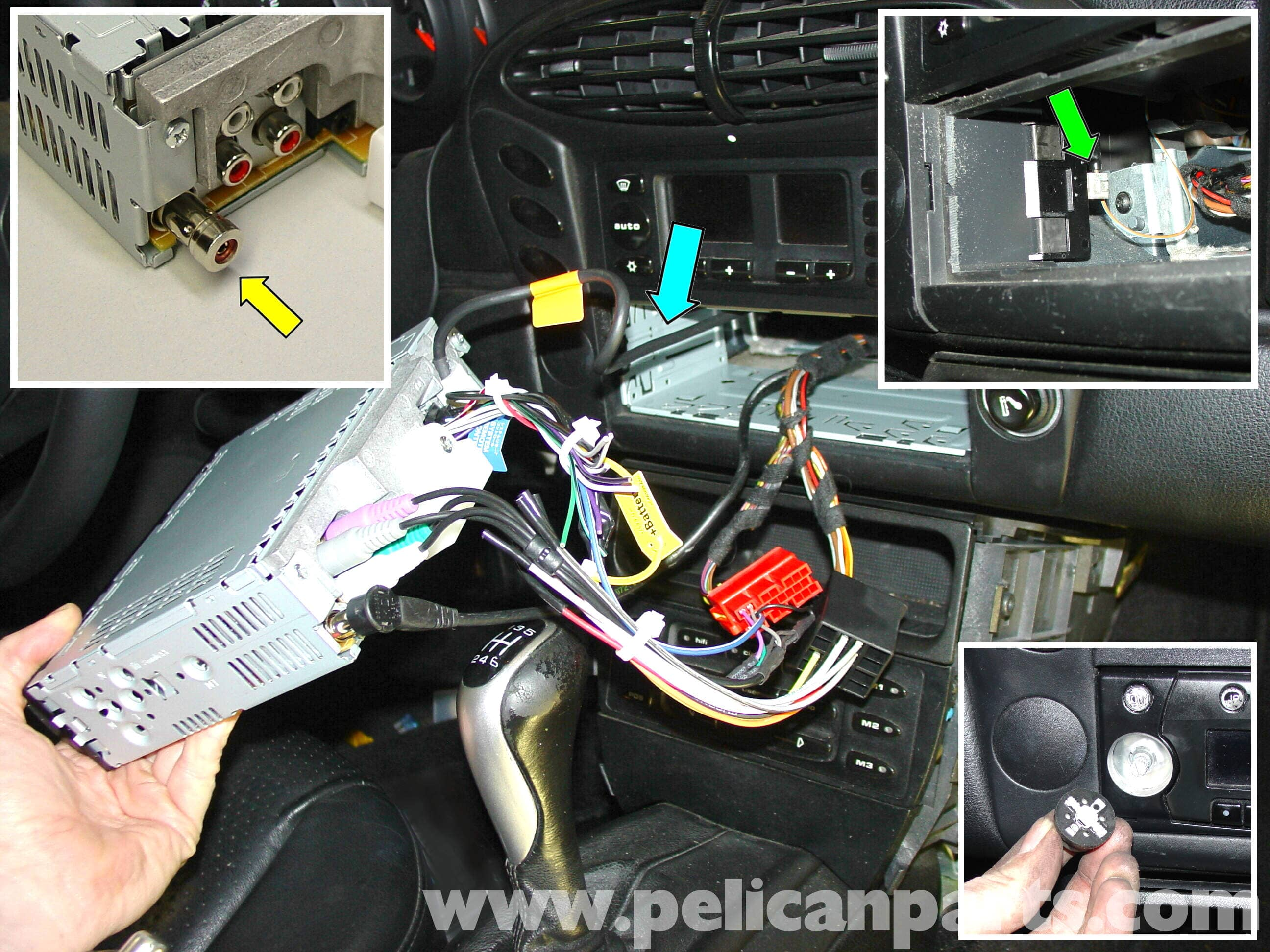 pic03 porsche 911 carrera radio head unit installation 996 (1998 2005 Ford Radio Wiring Diagram at reclaimingppi.co