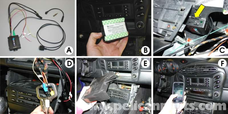 this photo array shows the installation of the dice universal ipod adapter