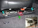 This photo shows the air bag deactivation bar installed in the passenger seat.