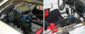 Here's a shot of two Porsche interiors that have been gutted and prepped for the track.
