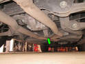 Because of the proximity of the two rear jacking points, there is no place to use a floor jack and then also place a jack stand.
