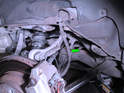 Rear Brake Lines - Left and Right Sides: Shown here is the rear brake line on the Porsche Cayenne (green arrow).