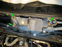 Loosen and remove the three T30 Torx screws (green arrows) holding the wiper motor/linkage assembly to the firewall