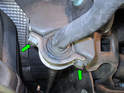 Now remove the right and left clamps holding the sway bar to the rear subframe.