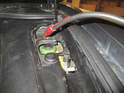 When jump starting the Cayenne, attach the positive side of the jumper cables to the positive terminal as shown here.