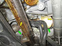Left side of car: Shown here is the catalytic converter and exhaust (green arrows) on the right side of the car.
