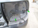 Left and Right Sides: There are two T20 Torx screws (green arrows) directly under each taillight assembly.