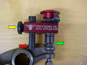 Use the adjustment knob (yellow arrow) on the rear of the tool to adjust the height of the tool post (red arrow) so that the blade of the tool sits flush and level in the adjustment screw (green arrow).