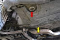 On the front of the 944 there is a factory jack support area (red arrow) with a cut out in the under body tray.