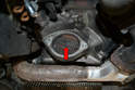 With the starter removed, check the mounting area for any dirt, corrosion or debris.